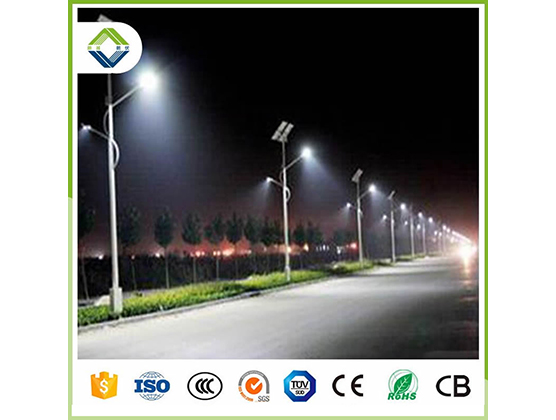50w*2pcs double arms solar street light with lithium battery
