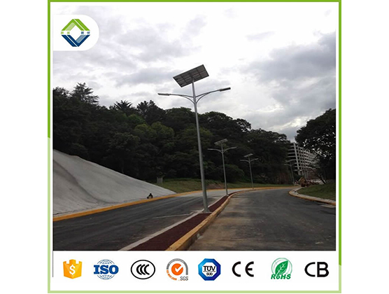 30w*2pcs double arms solar street light with lithium battery
